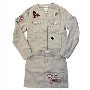 Guess RARE Ecru Patch Jacket with Matching Skirt